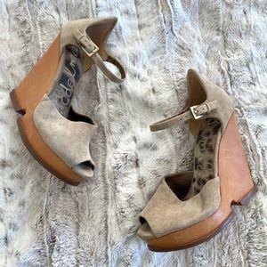 Sam Edelman Suede Platform Wood Wedge Sandals